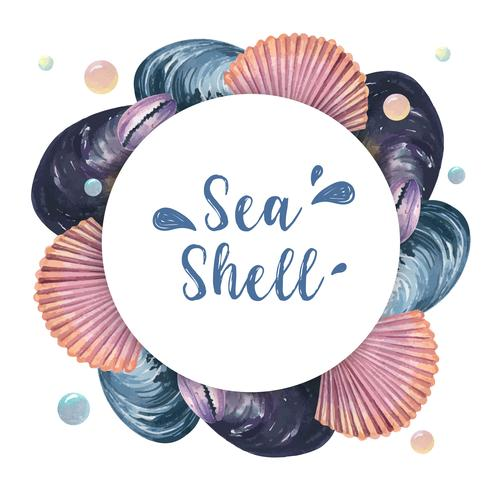 Sea shell  wreath marine life summertime travel on the beach ,aquarelle isolated, design vector illustration Color Coral trendy