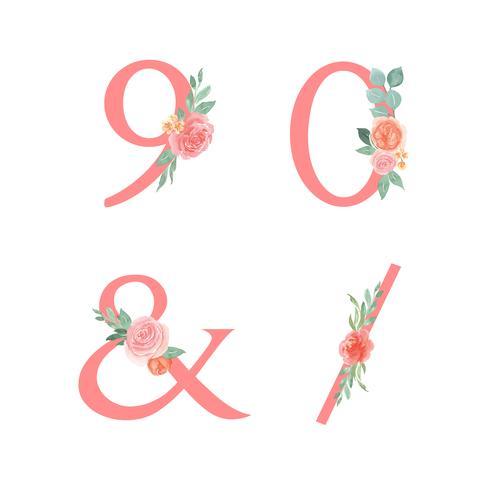 Rosa Alphabetblumen stellten Sammlung, Pfirsich und orange Pfingstrosenblumenblumensträuße Weinlese, Design für Hochzeitseinladung ein, feiern Heirat, Dankkartendekorations-Vektorillustration.