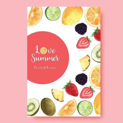 Temporada de verano de frutas tropicales Cartel, maracuyá, piña, afrutado fresco y sabroso, acuarela acuarela, ilustración vectorial acuarela