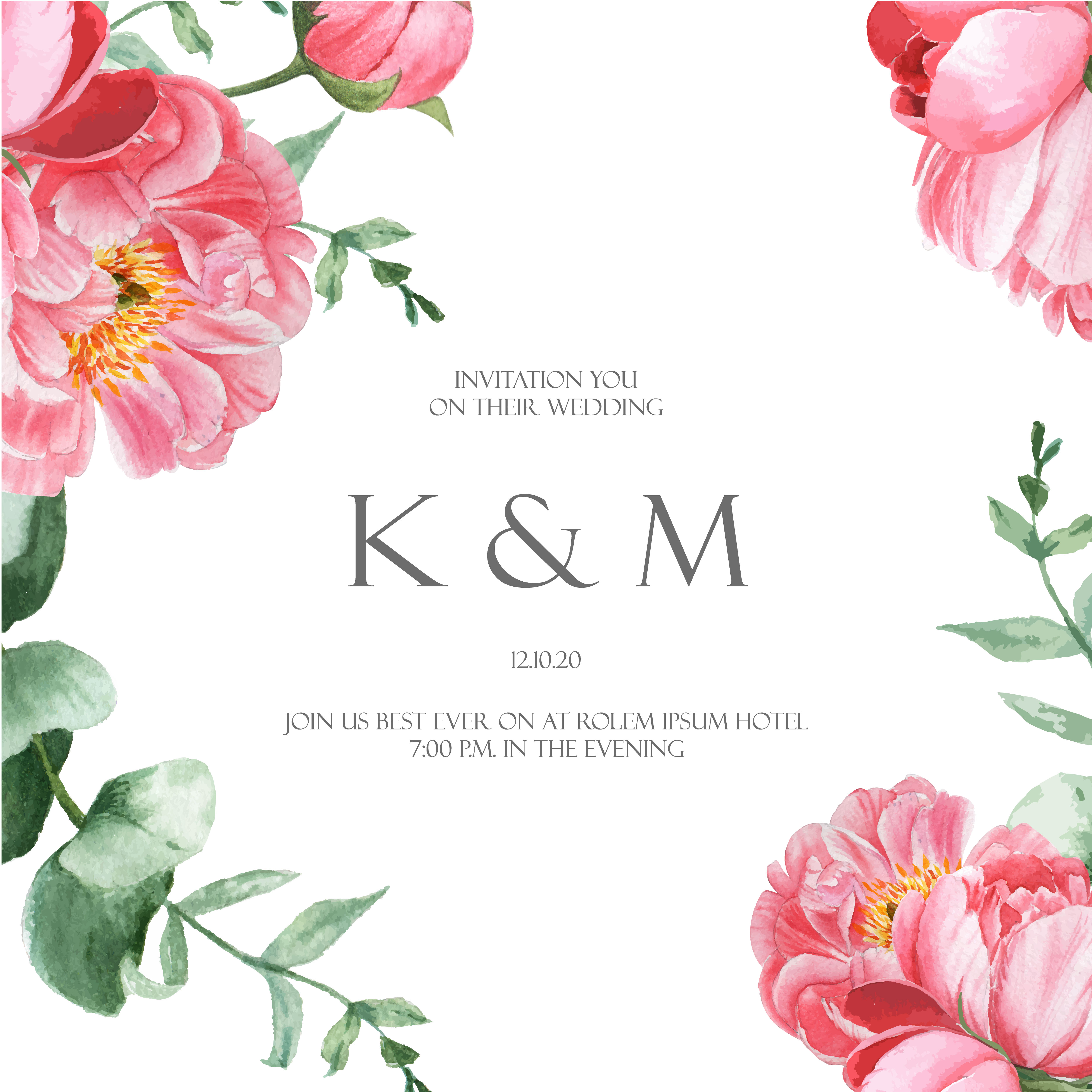 Wedding Flower Background: Pink Peony Blooming Flower Botanical Watercolor Wedding