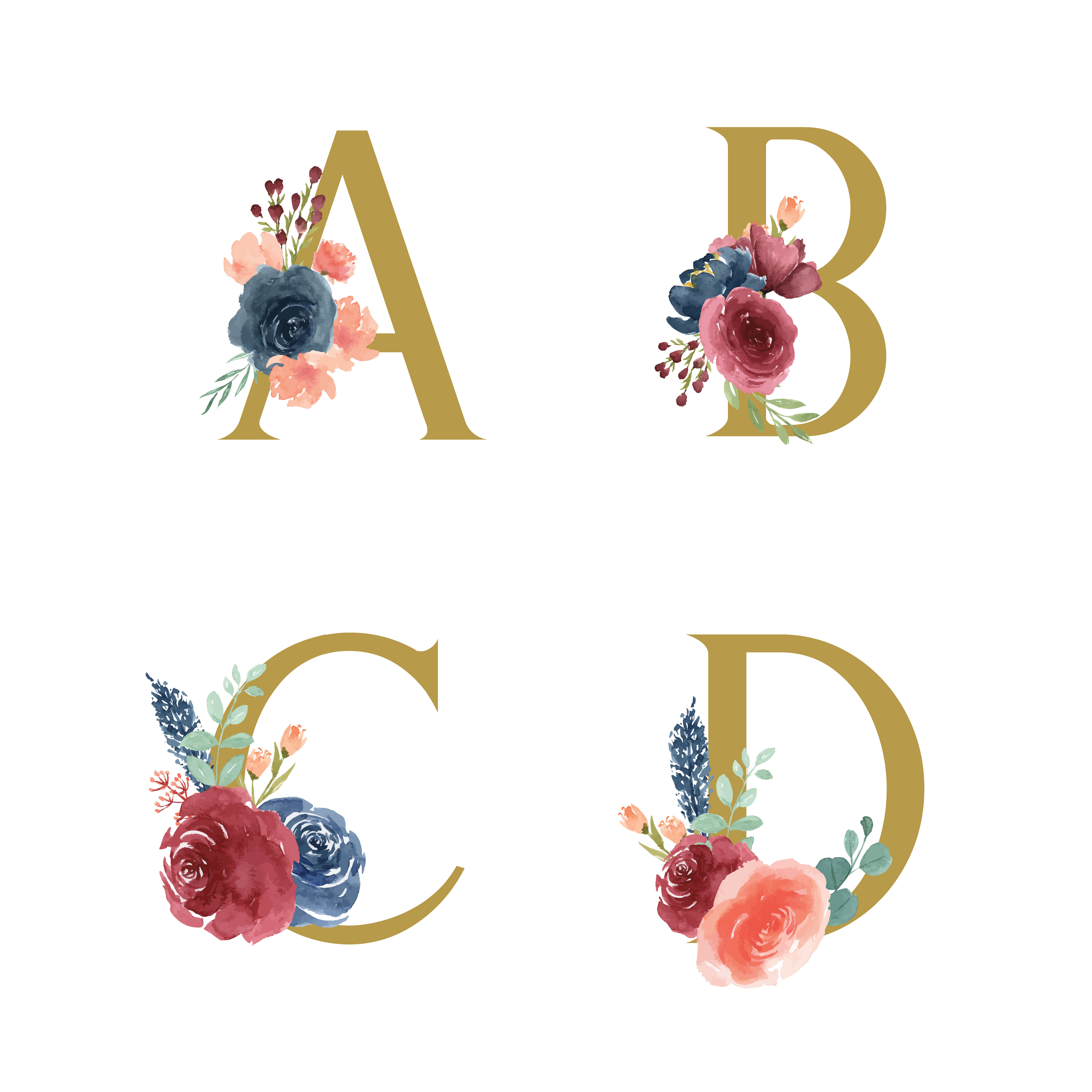 Gold Alphabet Florals Set Collection, Blue-red Rose And