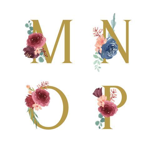 Set di ornamenti floreali oro alfabeto, mazzi di fiori di peonia rosa e rosso-blu, design per invito a nozze, celebrare il matrimonio, illustrazione d'epoca decorazione della carta grazie