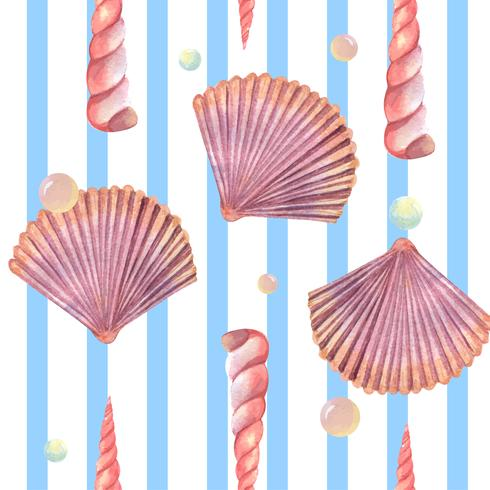 Sea shell marine life pattern seamless, travel vacation summertime on the beach ,aquarelle textile isolated, vector illustration Color Coral.