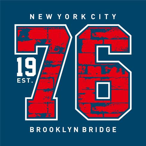 New York City 1976, T-shirt tipografia stampata