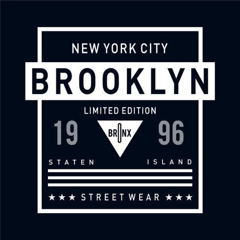 New York City Brooklyn Typografieentwurf für T-Shirt