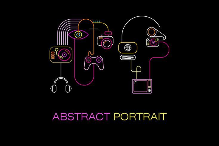 Abstracte neongezichten