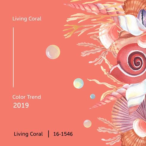 Couleur corail 2019 à la mode, été de la vie marine coquille de mer voyager la plage, illustration vectorielle aquarelle isolé vecteur