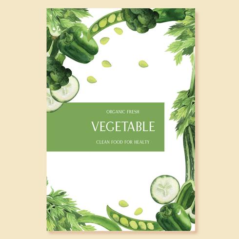 Green vegetables watercolor Poster Organic menu idea farm, healthy organic design, aquarelle  vector illustration
