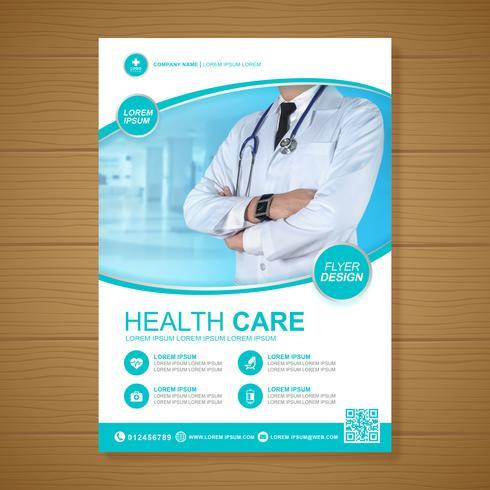 Cobertura de saúde a4 modelo de design e ícones planas para um relatório e design de brochura médica, panfleto, decoração de folhetos para impressão e apresentação de ilustração vetorial