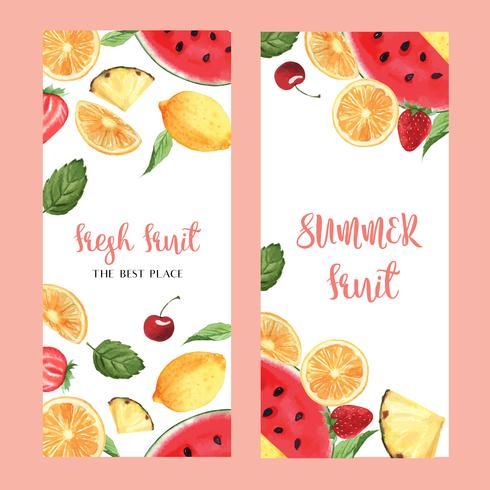 Tropisk frukt meny design, passionfruit sommar vattenmelon mango, jordgubbe, orange, fräsch och välsmakande ram, banner, kort design vektor illustration.