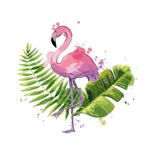 Vector roze flamingo met exotische tropische bladeren geïsoleerd op een witte achtergrond.