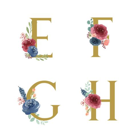 Goldalphabetblumen stellten Sammlung, blau-rote Rose und rosa Pfingstrosenblumenblumensträuße ein, entwerfen für Heiratseinladung, feiern Heirat, Dankkartendekorationweinleseillustration