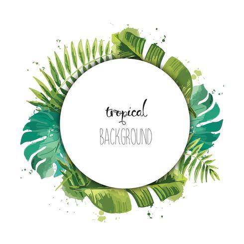 Zomer sjabloonontwerp met groene tropische planten en palmbladeren. vector