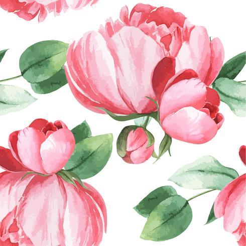 Pivoine fleurs watercolo modèle textile vintage floral sans couture botanique style aquarelle, aquarelle fleur design décor invitation carte vector illustration