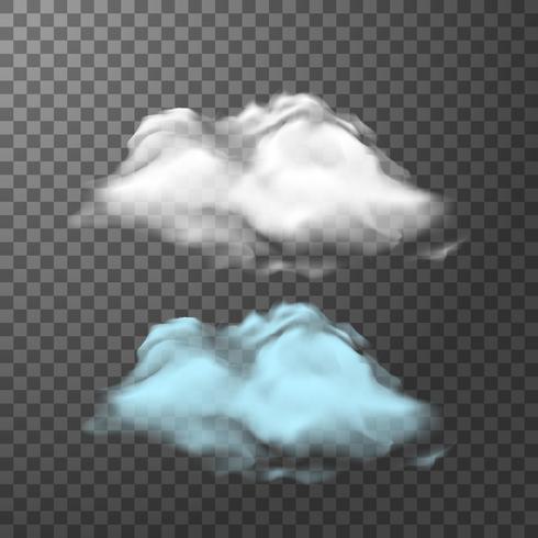 Weiße und blaue Wolke auf transparentem Hintergrund