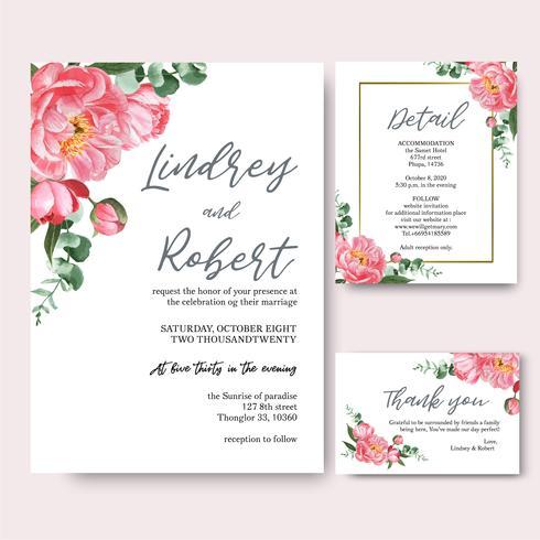 Carte d'invitation de bouquets d'aquarelle de fleurs de pivoine rose, faites gagner la date, conception de cartes d'invitation de mariage. Illustration vecteur