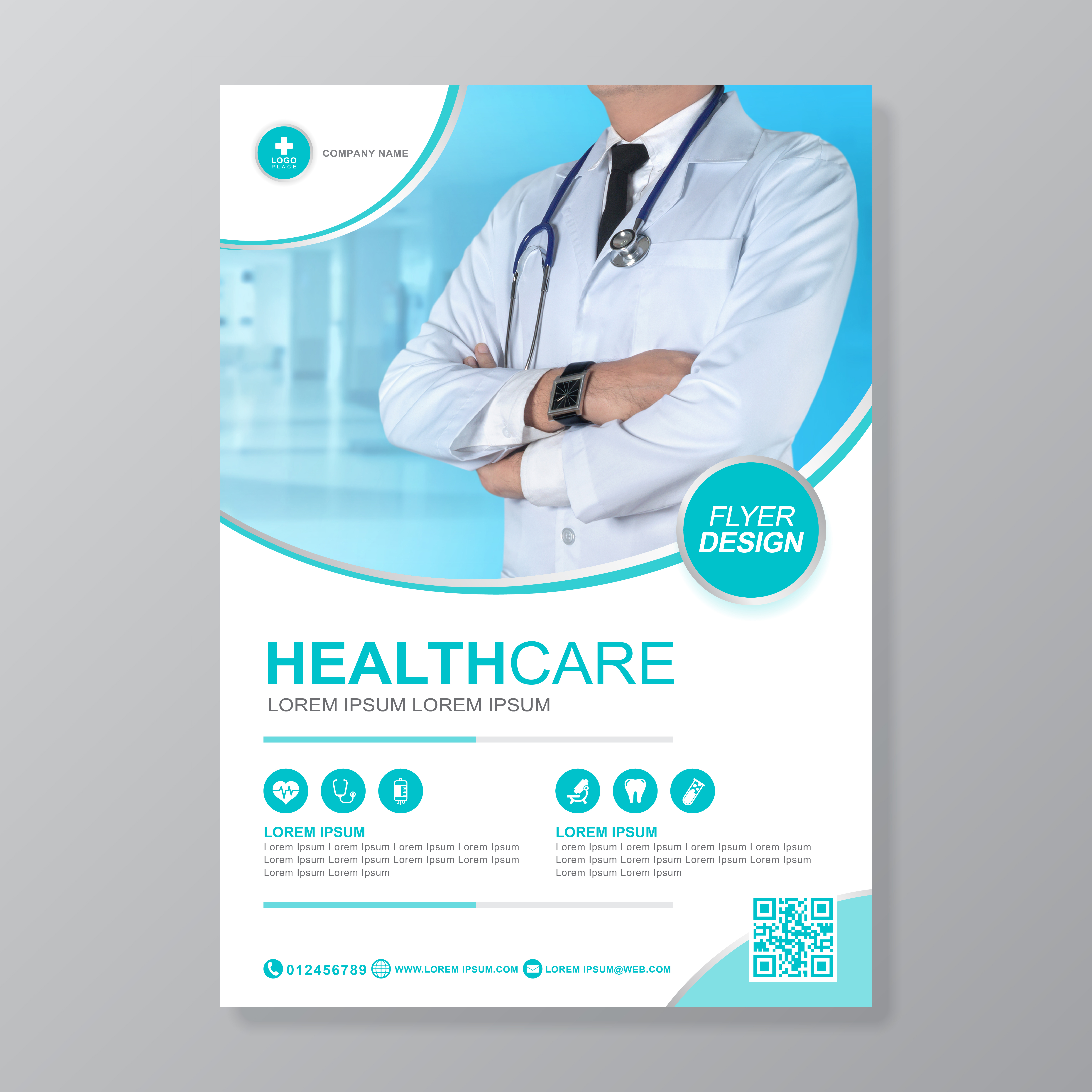 Medical Brochure Template: Healthcare Cover A4 Template Design And Flat Icons For A
