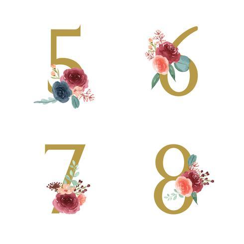 Gouden alfabet bloemen set collectie, blauw-rode roos en roze pioen bloemen boeketten, ontwerp voor bruiloft uitnodiging, vieren huwelijk, Bedankt kaart decoratie vintage illustratie