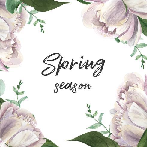 Aquarelle floral de fleurs de pivoine blanche floraison fleur botanique aquarelle floral isolé. Carte d'invitation design décor, faites gagner la date, invitation de mariage célébrer le mariage illustration vecteur