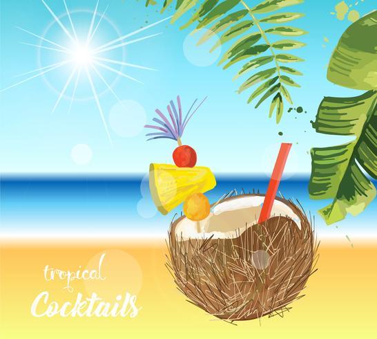 Tropisk cocktail. Sommarlov illustration.