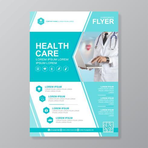 Gezondheidszorg dekking a4 sjabloonontwerp en plat pictogrammen voor een rapport en medische brochureontwerp, flyer, folders decoratie voor afdrukken en presentatie vectorillustratie