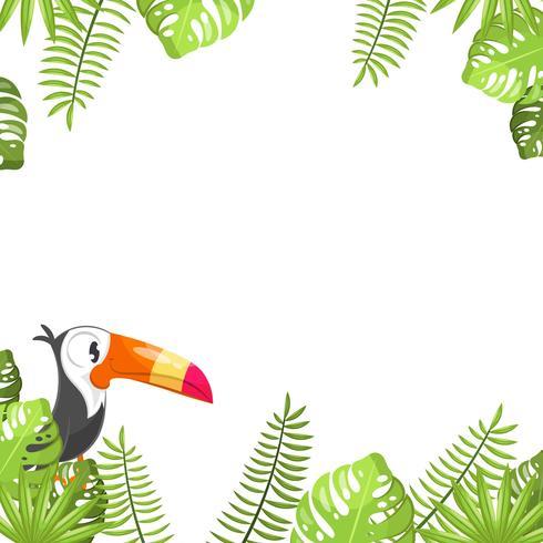 Tropischer Blätter- und Tucanhintergrund