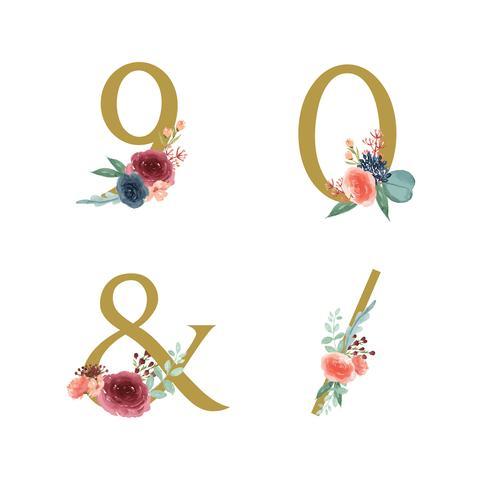 Guld Alfabetet blommar uppsättning, Blåröda ros och rosa pion blommor buketter, Design för bröllopsinbjudan, fira äktenskap, Tack kort dekoration vintage illustration