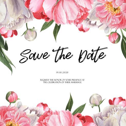 Acuarela floral floreciente de las invitaciones de boda de la acuarela de la flor de la peonía rosada. Diseñe la tarjeta de la invitación de la decoración, ahorre la fecha, vector del ejemplo de la boda.