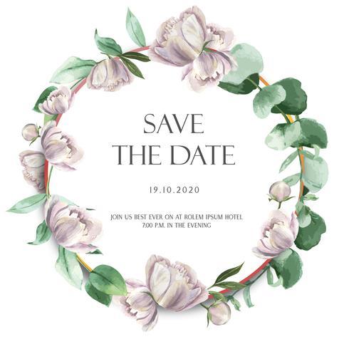 La peonía rosada enrolla las flores de la acuarela con el texto, acuarela floral aislada en el fondo blanco. Decoración de diseño para tarjeta de boda, cartel de invitación, banner.