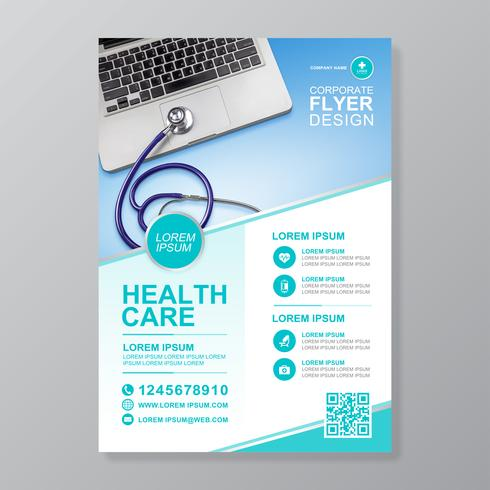 Healthcare cover a4 template design and flat icons for a
