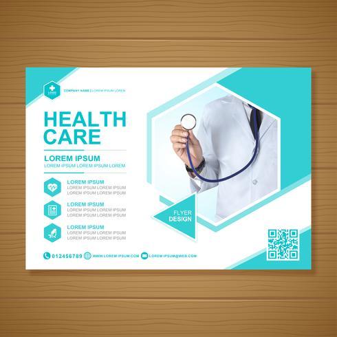 Healthcare cover modèle de conception a4 et icônes plats pour un rapport et une conception de brochure médicale, flyer, décoration de tracts pour illustration vectorielle