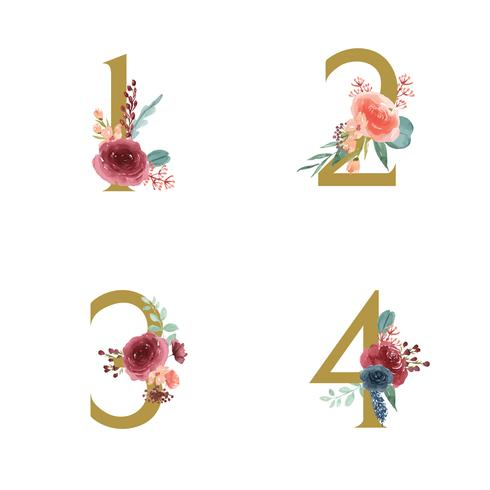Gold Alphabet florals set collection, Blue-red rose and pink peony flowers bouquets, Design for wedding invitation, celebrate marriage, Thanks card decoration vintage illustration