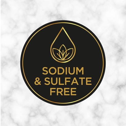 Sodium and sulfate Free icon for labels of shampoo, mask, conditioner and other hair products.  vector