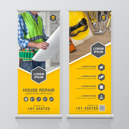 Construction tools roll up design, standee and banner template decoration for exhibition, printing, presentation vector illustration
