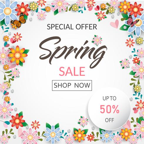 Banner y fondo de venta de primavera