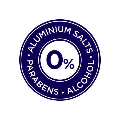 Aluminiumzout, parabenen en alcoholvrij pictogram.
