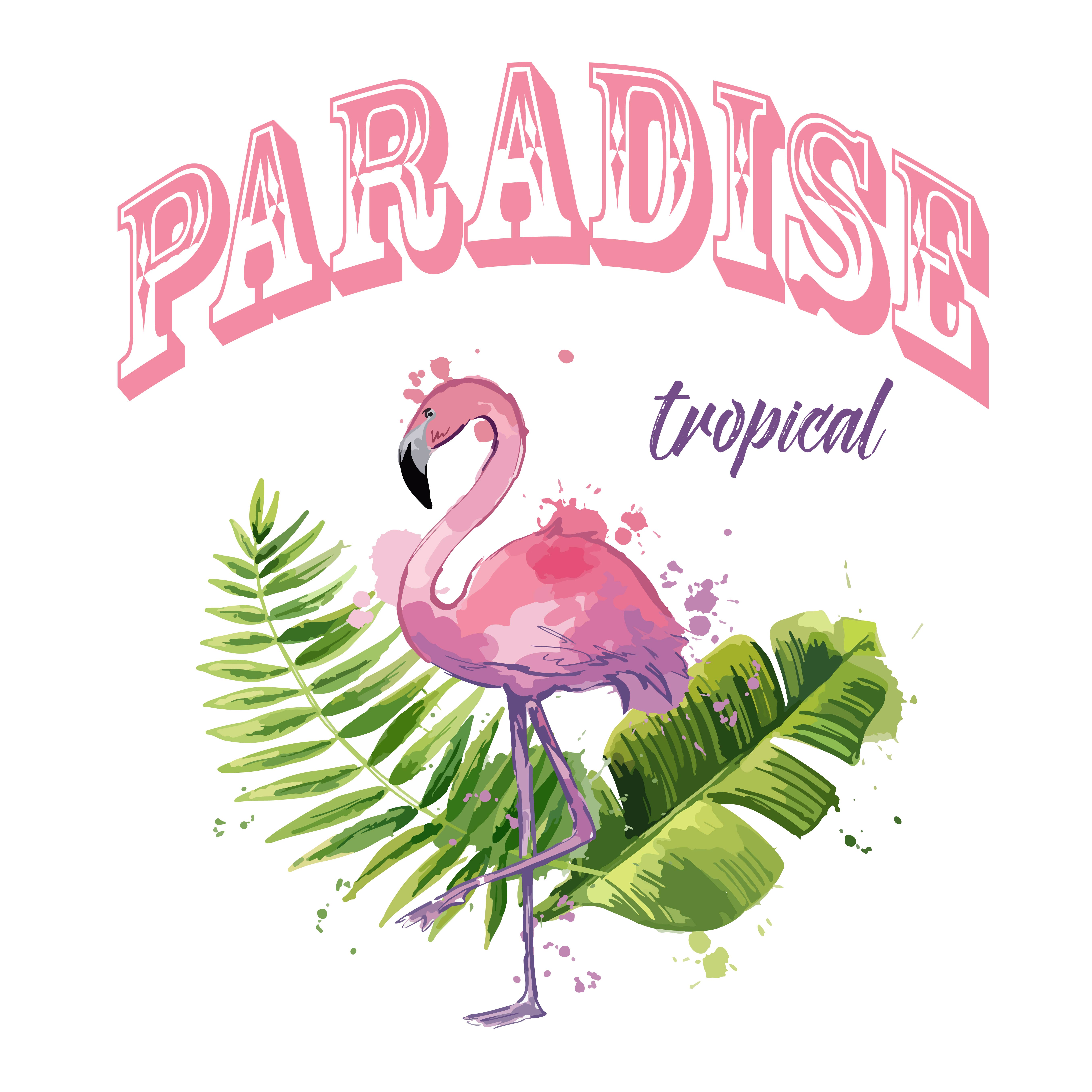 Vector Pink Flamingo With Exotic Tropical Leaves