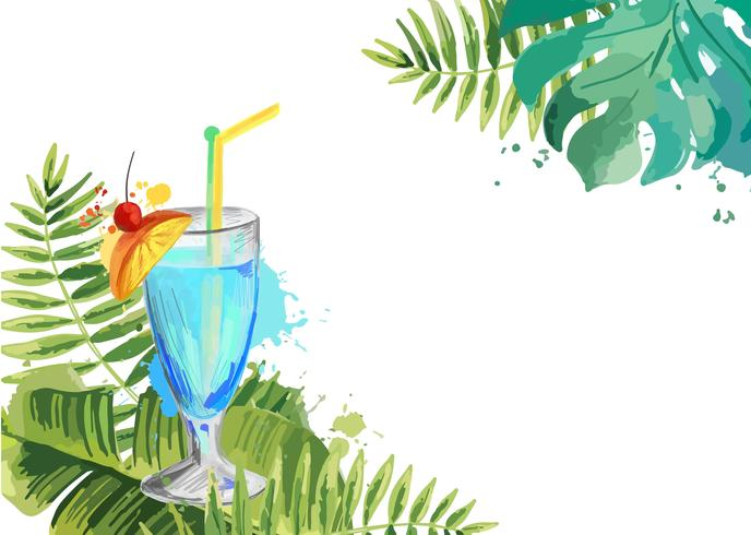 Cocktails. Summer tropical cocktail background with palm leaves.