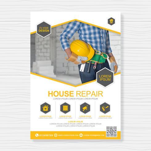 Las herramientas de construcción cubren la plantilla a4 y los iconos planos para un informe y un diseño de folleto, folleto, pancarta, decoración de folletos para la impresión y presentación de ilustración vectorial