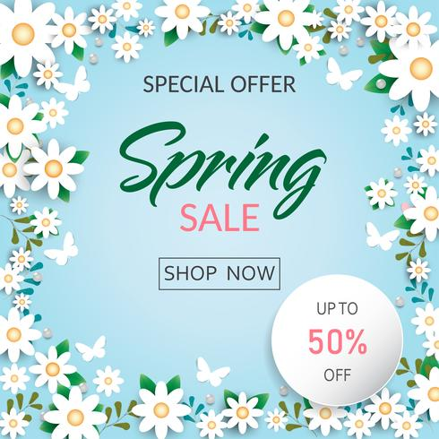 Spring time flowers sale background