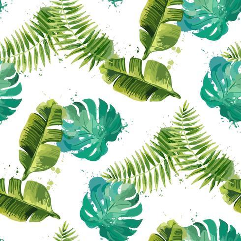 Tropische bladeren. Naadloze bloemenachtergrond. Geïsoleerd op wit. Vector illustratie.