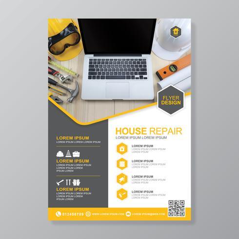 Bouwhulpmiddelen dekking a4 sjabloon en vlakke pictogrammen voor een rapport en een brochureontwerp, een vlieger, een banner, foldersdecoratie voor druk en presentatie vectorillustratie