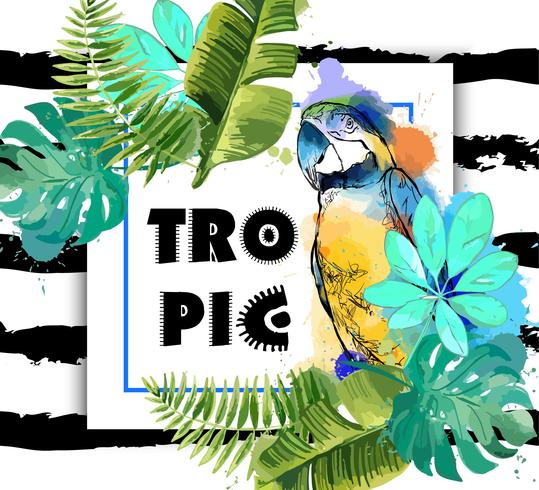 Exotischer Hintergrund mit Papagei und tropischen Blättern.
