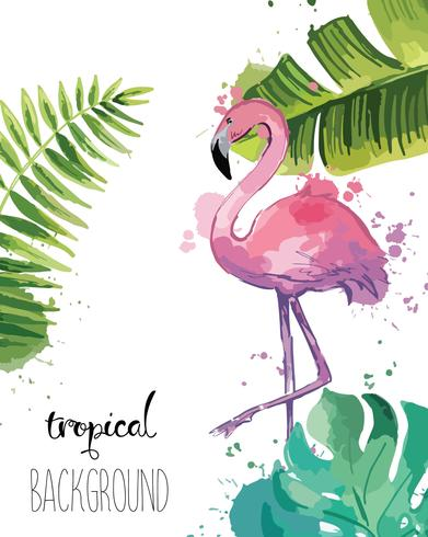 Background with Tropical Leaves and Flamingo.