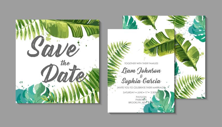 Suite d'invitation de mariage avec des feuilles tropicales exotiques.