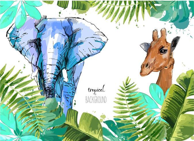 Fondo con hojas tropicales, elefante y jirafa. vector
