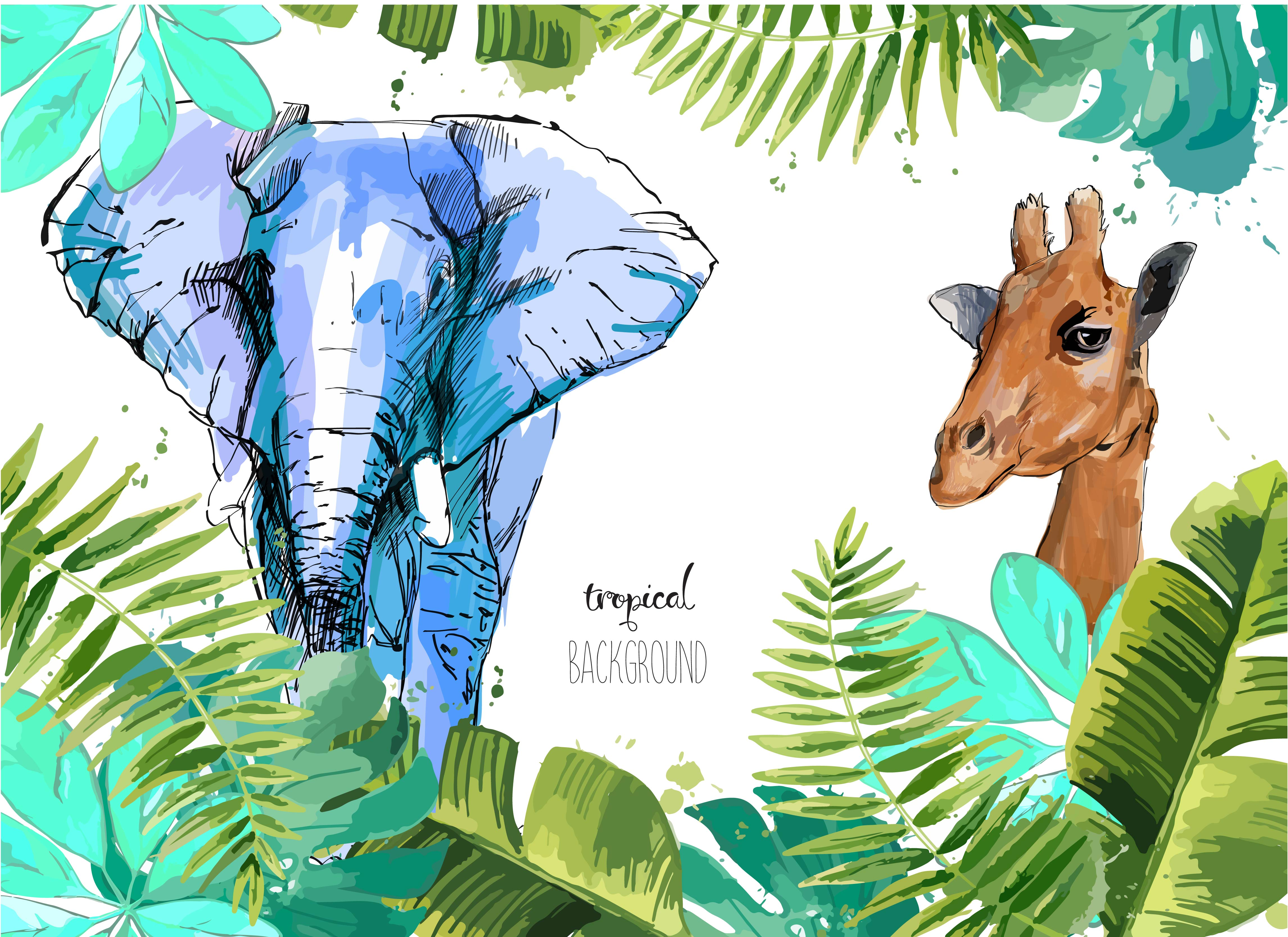 Background with Tropical Leaves, elephant and giraffe ...