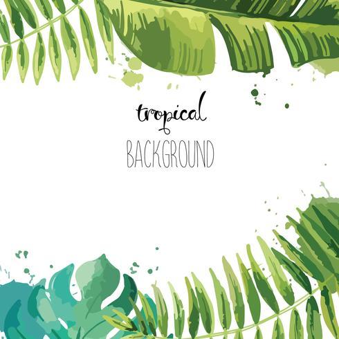 Fond avec des feuilles tropicales. vecteur