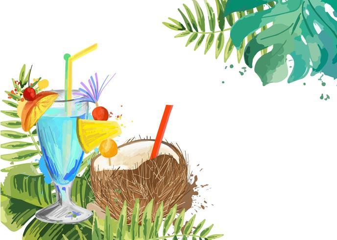 Cocktails Fundo cocktail tropical de verão com folhas de palmeira.