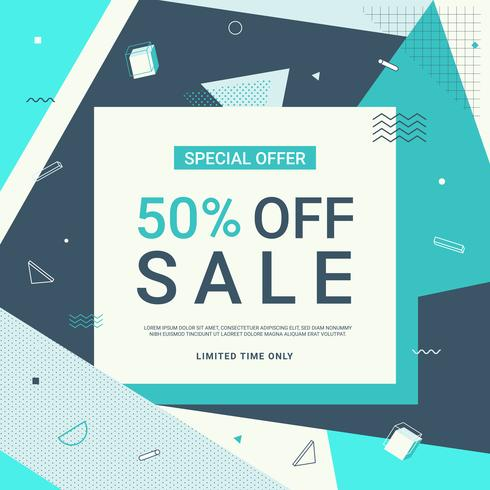 Sale banner in blue tone with geometric shapes. Sale background template. Vector illustration